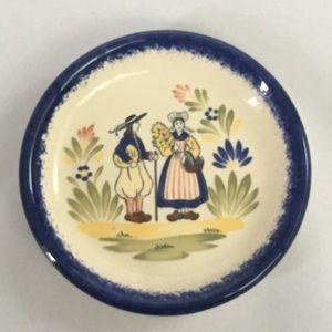 Vintage France faience Bretagne trinket dish plate